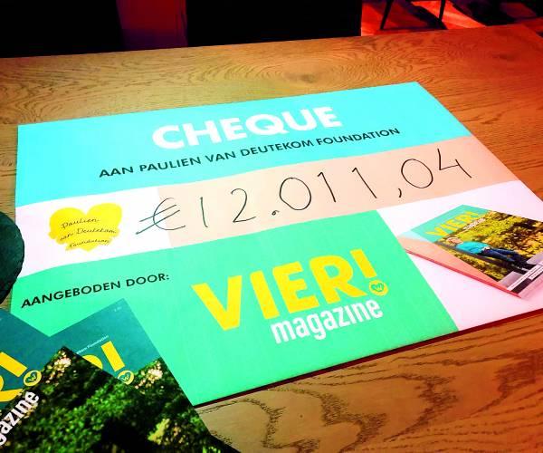 Vier! magazine levert ruim 12.000 euro op voor Paulien van Deutekom Foundation